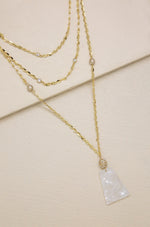Glamour By Day Necklace with White Resin Pendant & Gold Layered Chain
