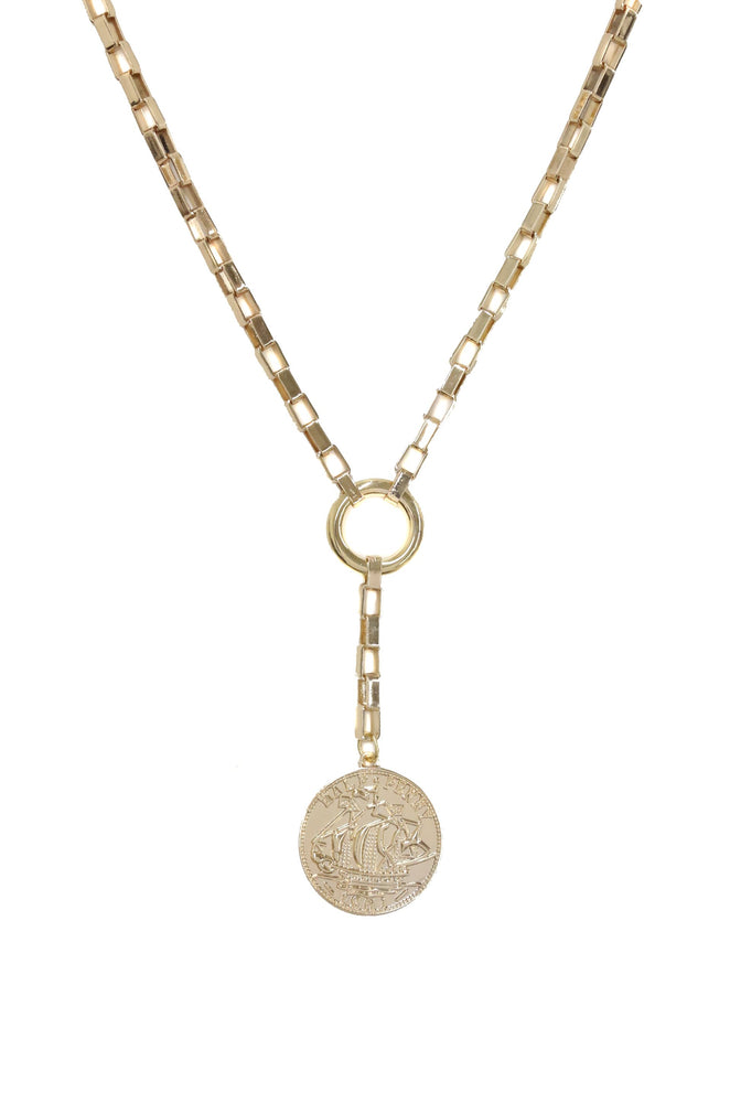Power Player Coin Lariat Necklace