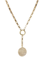 Power Player Coin 18kt Gold Plated Lariat Necklace