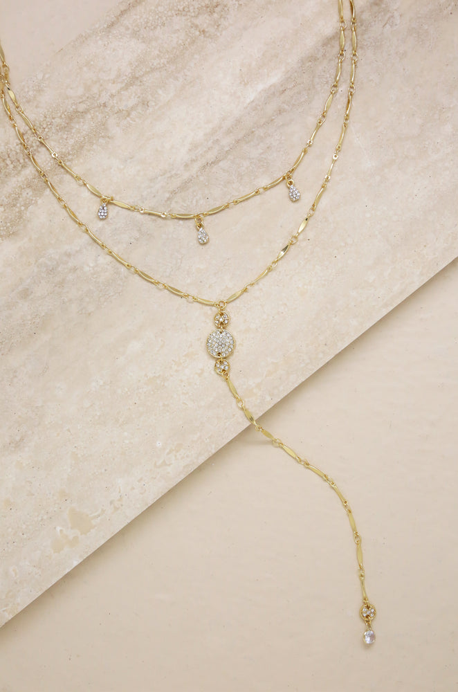 Carmine Layered Crystal Lariat Necklace
