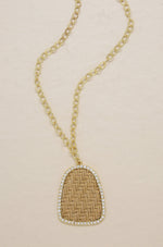 Modern Keepsake 18k Gold Plated Tan Weave Pendant Necklace