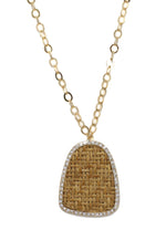 Modern Keepsake 18k Gold Plated Tan Weave Pendant Necklace on white background