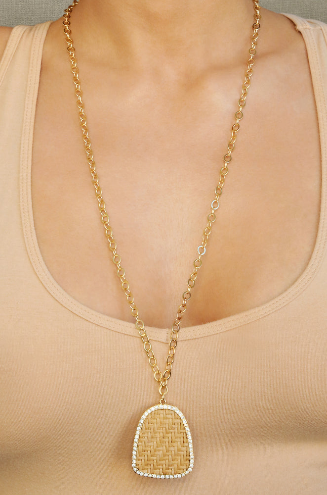 Modern Keepsake 18k Gold Plated Tan Weave Pendant Necklace shown on a model