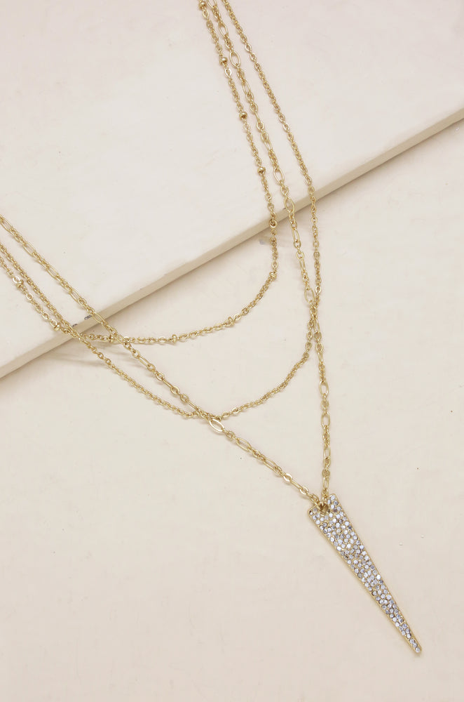 Layered Crystal Spike 18k Gold Plated Necklace