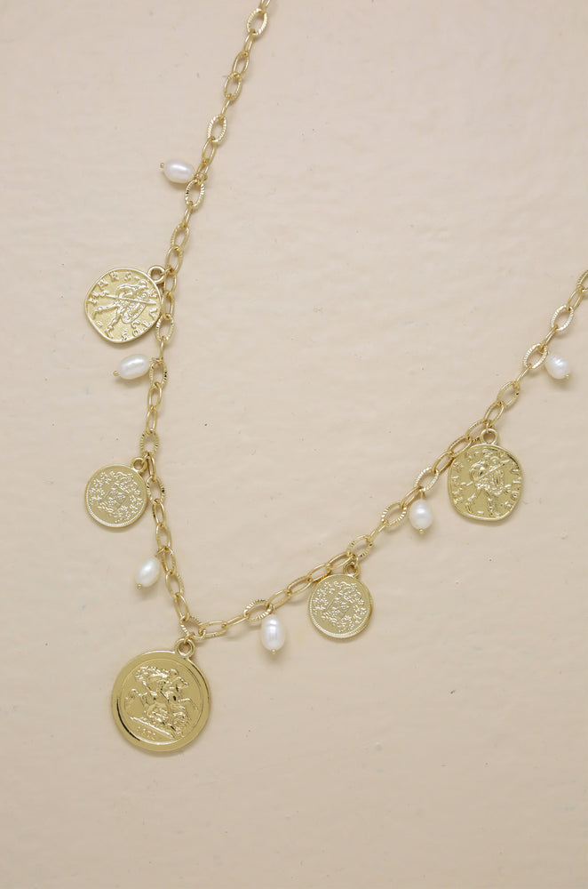 Treasure Hunter 18k Gold Plated Coin and Pearl Necklace