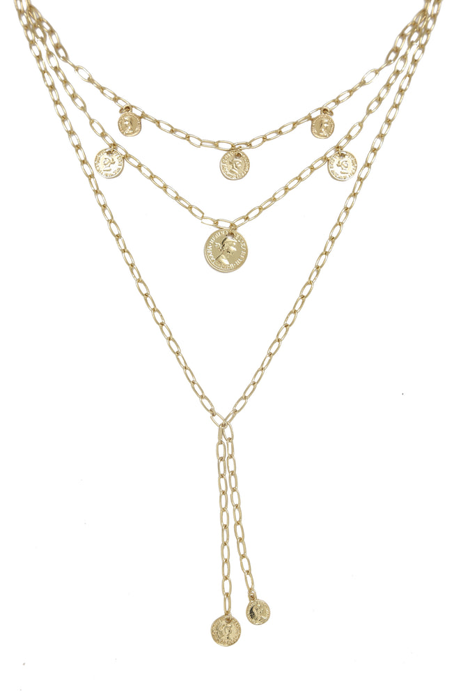 Mini Coin Layered Necklace in Gold