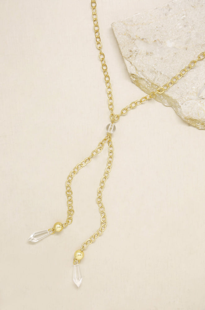 Chain Link 18k Gold Plated Lariat with Double Hanging Resin Pendants