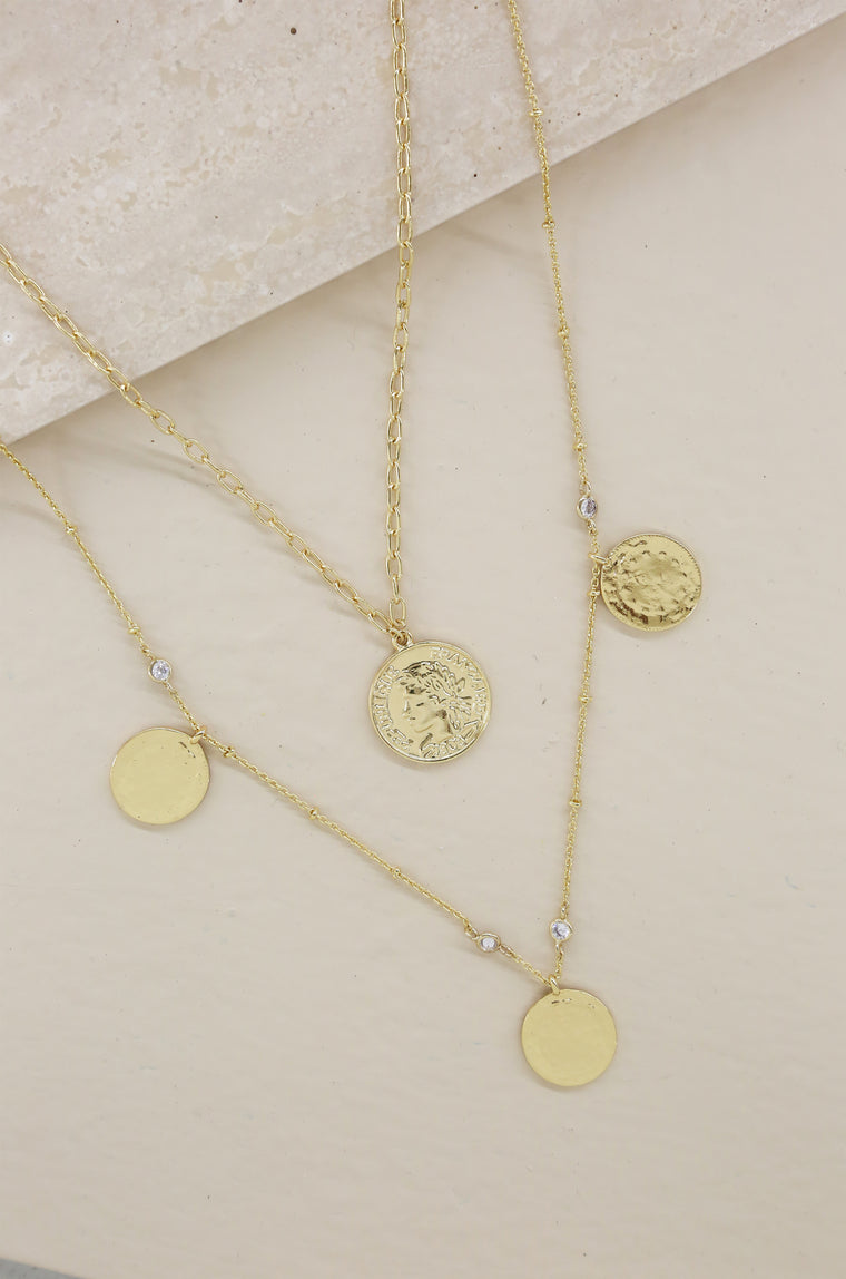 Elite Coin and Crystal Layered 18kt Gold Plated Necklace Set