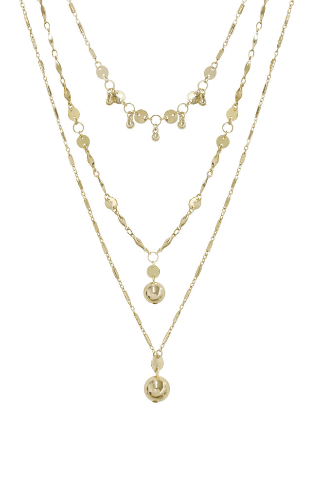 Triple Threat Gold Ball Charm Necklace Set