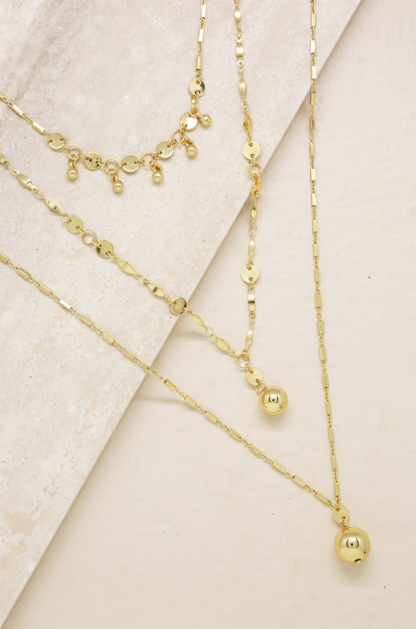 Triple Threat Gold Ball Charm 18k Gold Plated Necklace Set