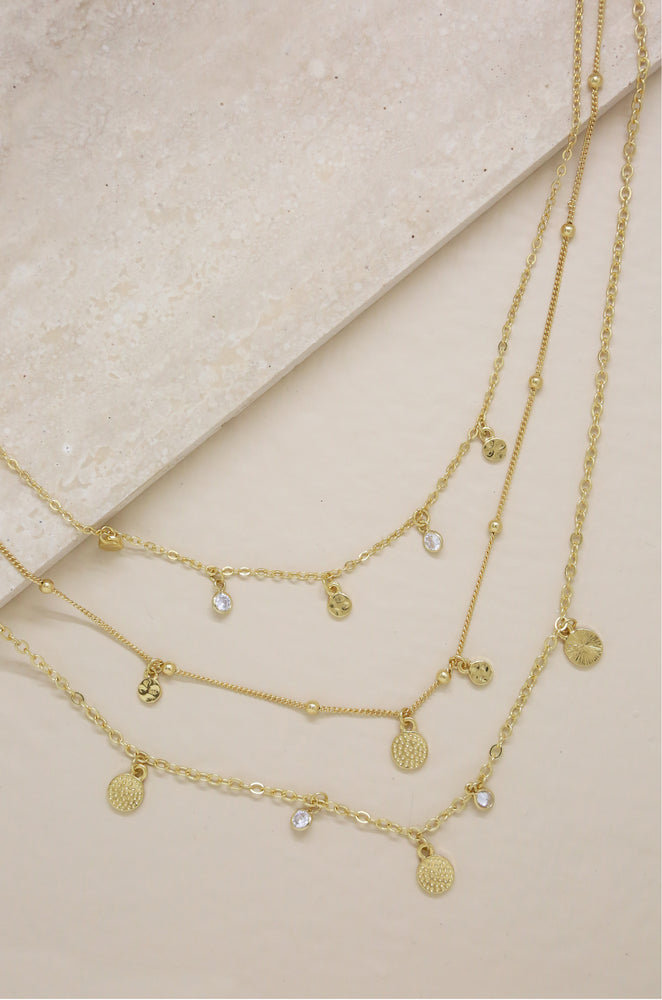 Crystal Detailed Triple Layer Necklace