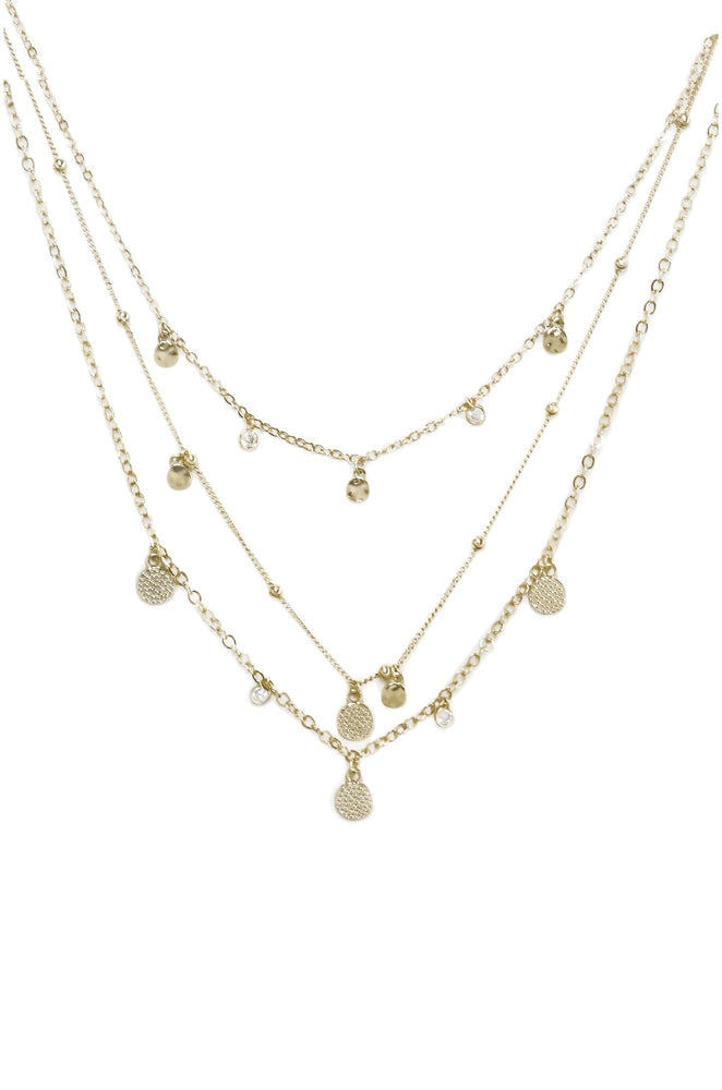 Crystal Detailed Triple Layer Necklace in Gold