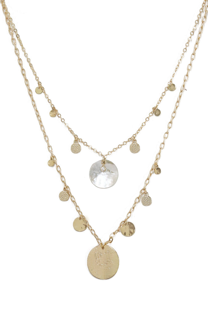 Ettika Jewelry 18kt Gold Plated Layered Shell Disc Necklace
