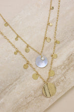 Pacific Princess 18kt Gold Plated Layered Shell Disc Necklace Set