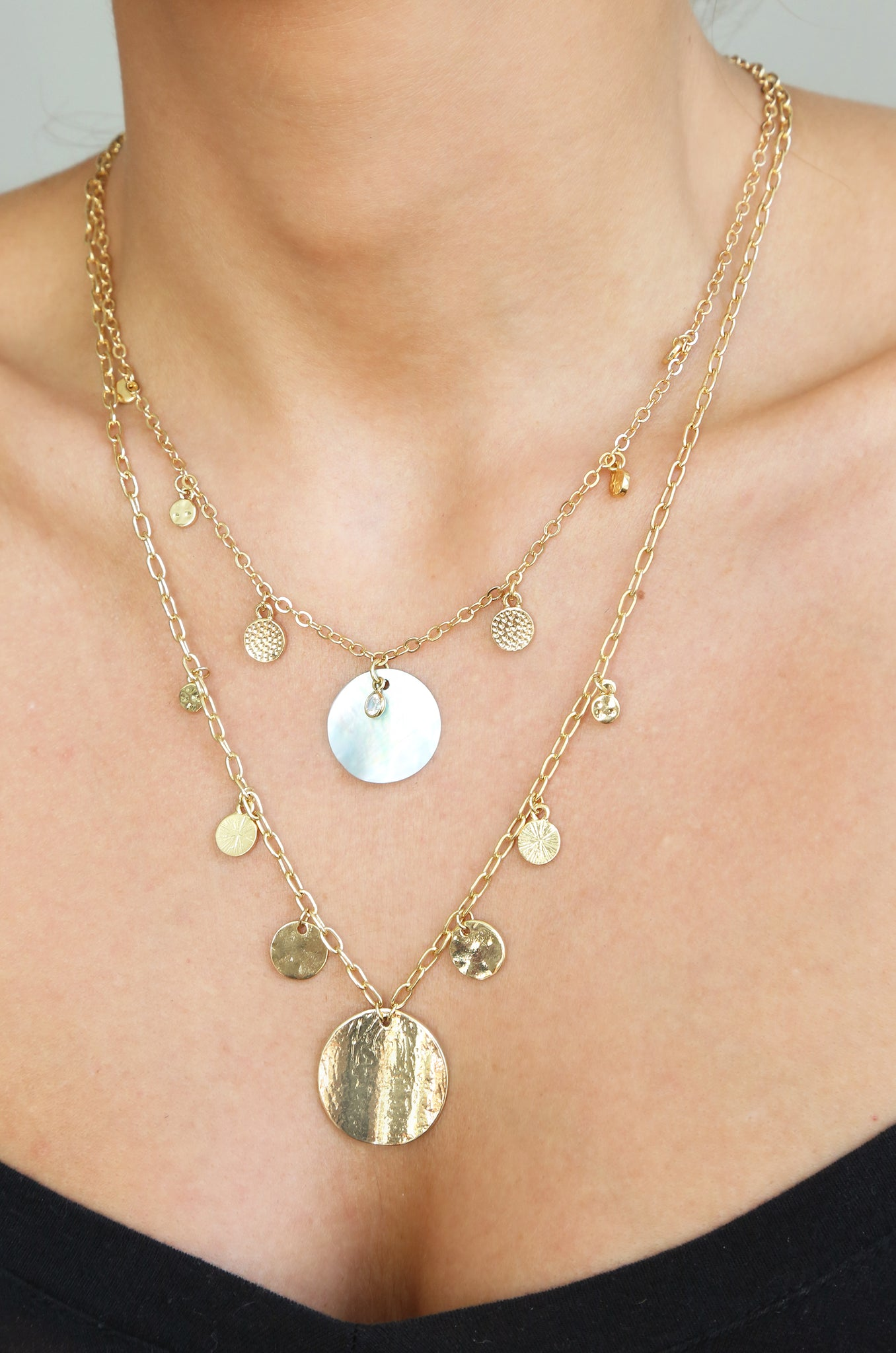 Pacific Princess Layered Shell Disc Necklace Set