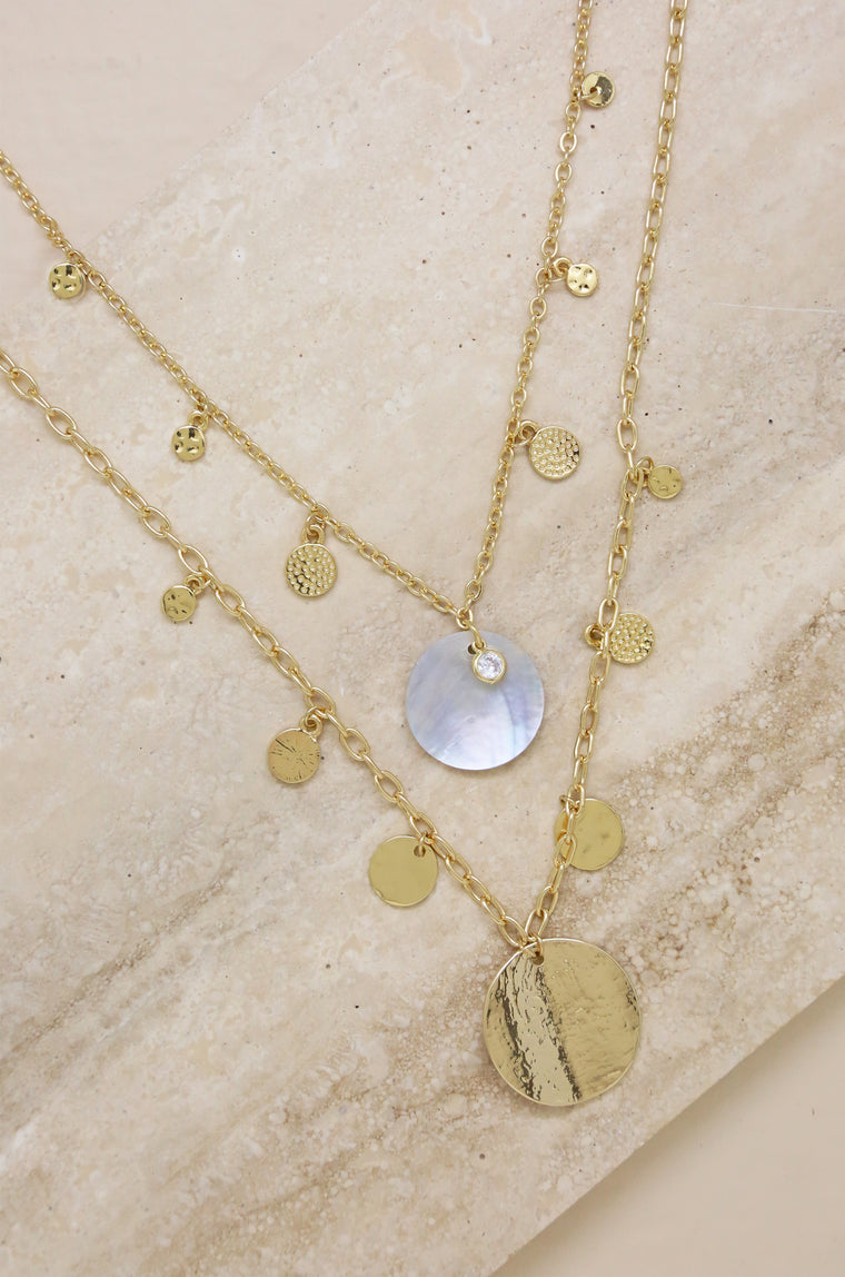 Pacific Princess 18kt Gold Plated Layered Shell Disc Necklace