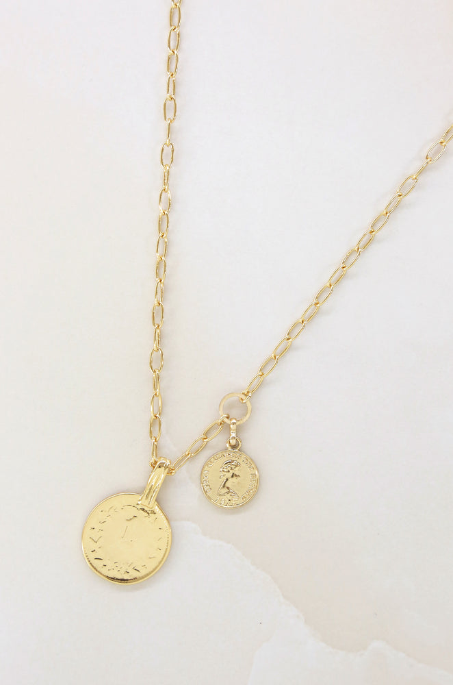 Simplicity 18kt Gold Plated Coin & Chain Necklace