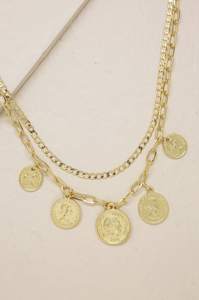 All About the Coin 18k Gold Plated Layered Necklace