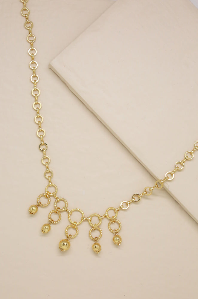 Open Circle Gold Linked Necklace with Ball Charms