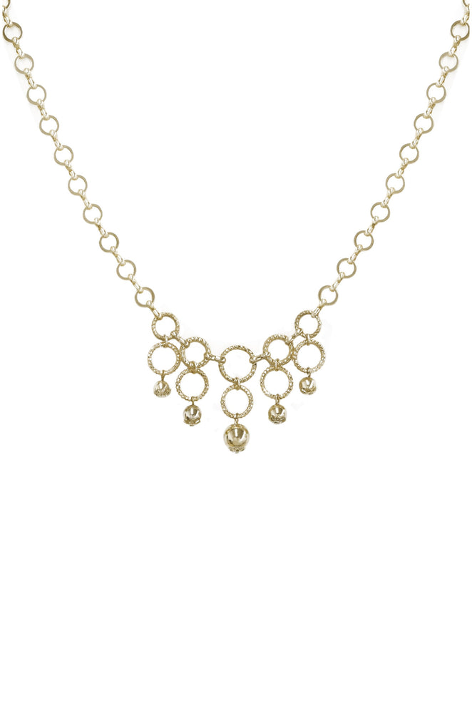 Open Circle 18k Gold Plated Linked Necklace with Ball Charms