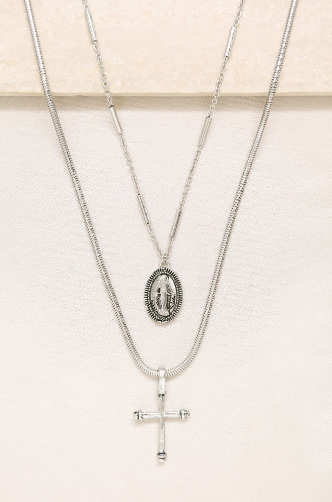 Like a Prayer Layered Cross and Coin Necklace