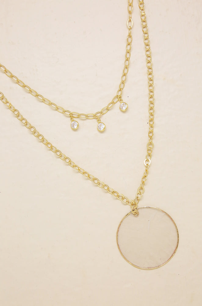 Darling Coin Shell & 18kt Gold Plated Layered Necklace