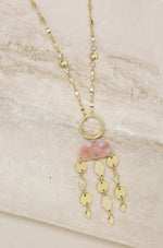 Mixed Geo Resin and 18k Gold Plated Necklace in Pink
