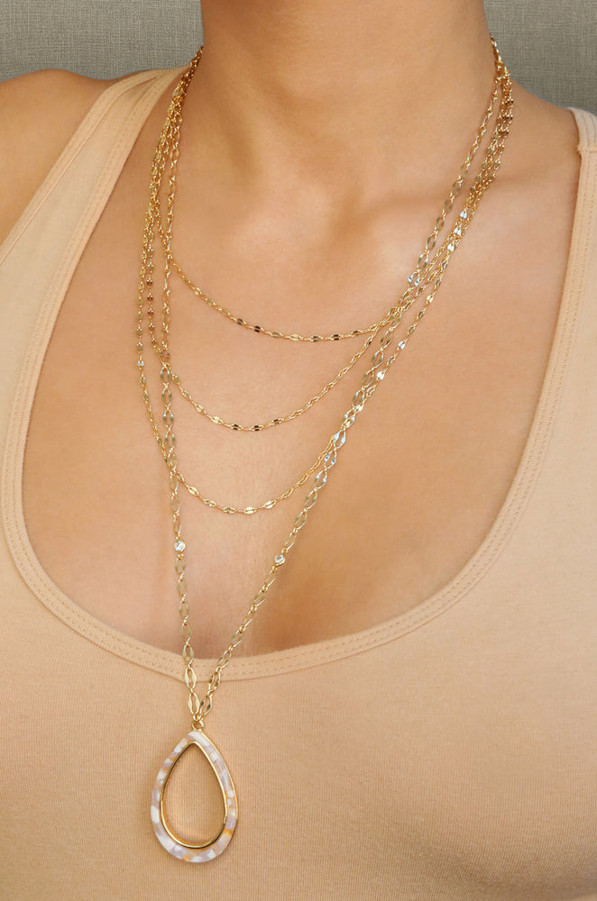 Simply Chic Teardrop Blush Resin and 18k Gold Plated Layered Necklace