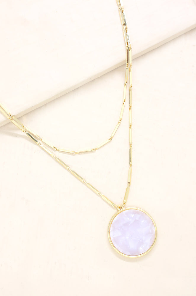 Cloud Nine Resin Pendant & Gold Chain Layered Necklace