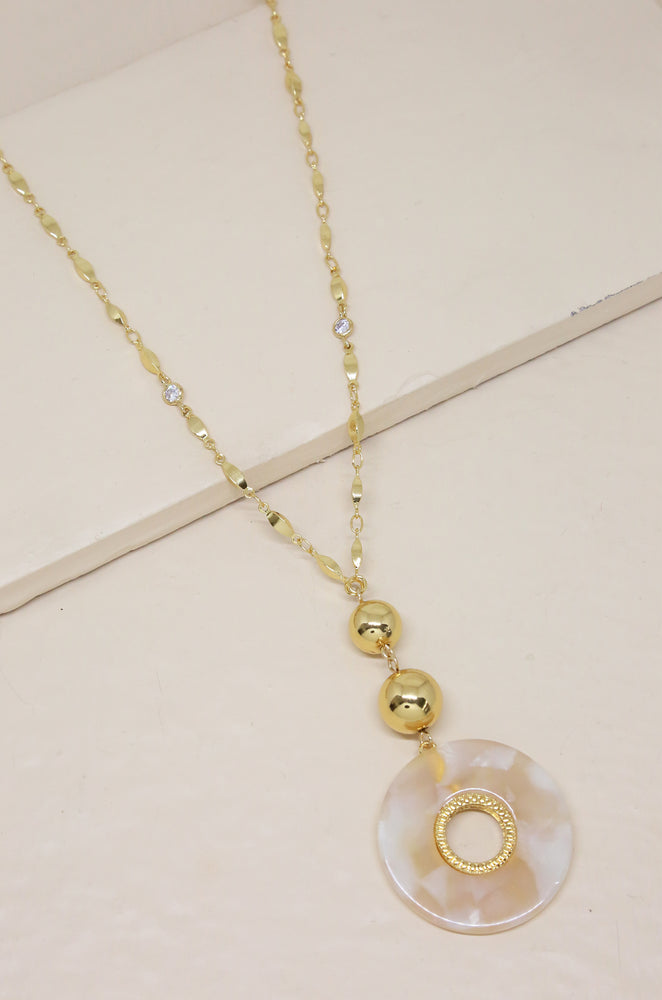 By the Moonlight Beige Resin Pendant Necklace
