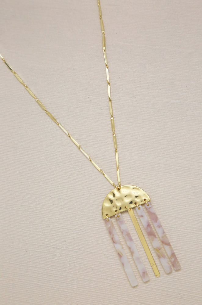 Golden Goddess Geometric Pendant 18k Gold Plated Necklace with Taupe Resin Bars