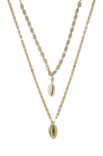 Double Cowrie Shell Layered 18k Gold Plated Necklace Set on white background
