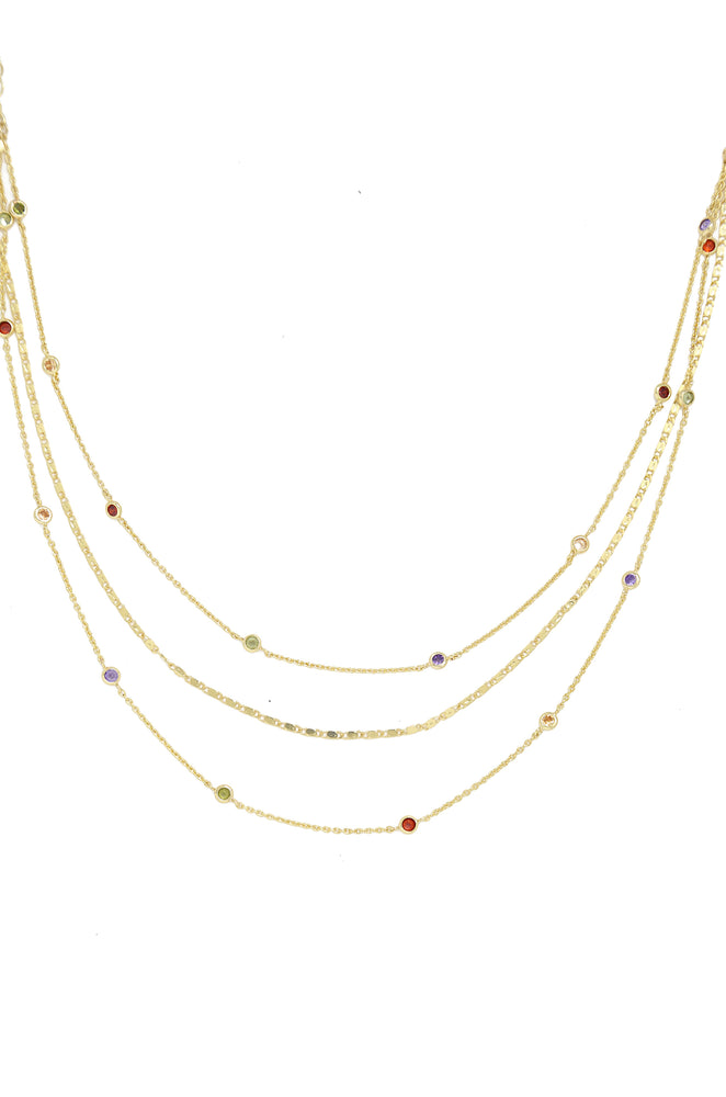 Over the Rainbow Layered Gold Chain Necklace