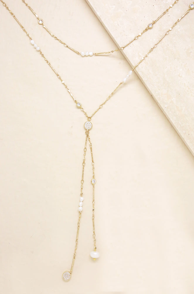 Multi-Chain Freshwater Pearl and 18k Gold Plated Necklace