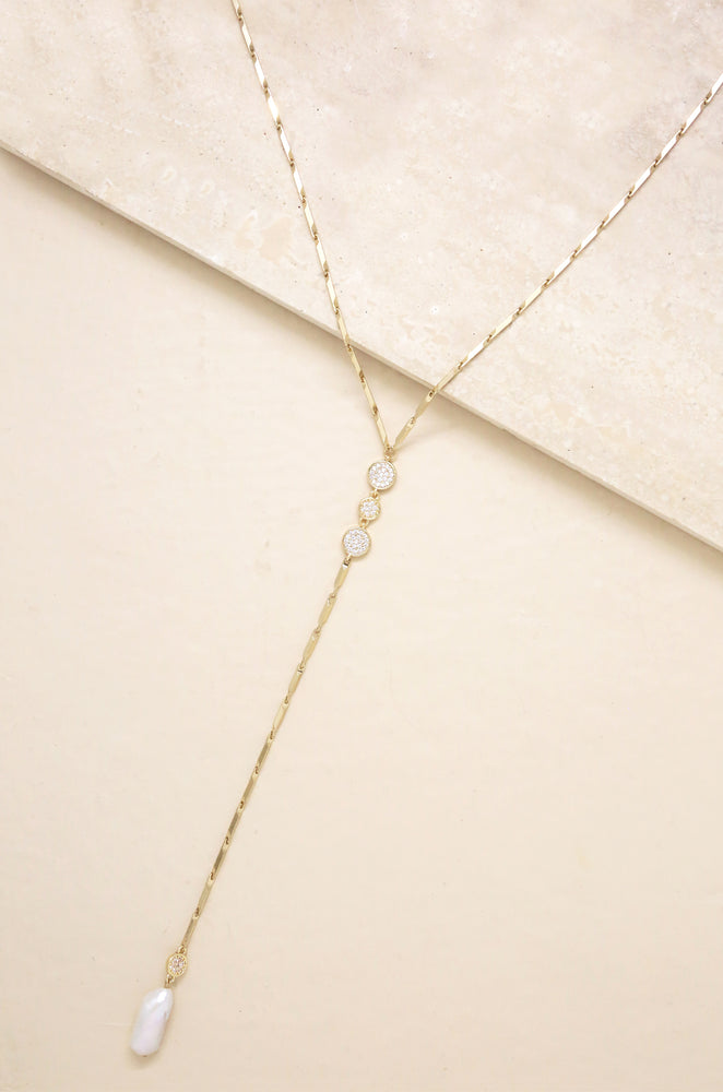 Elegant Freshwater Pearl and 18k Gold Plated Lariat Necklace