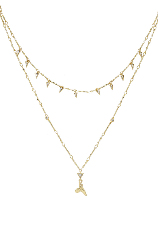 Layered Shark Tooth 18k Gold Plated Necklace