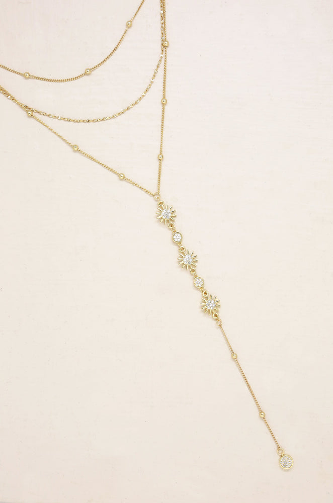 Sunburst Layered Lariat Necklace