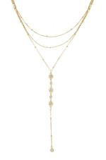 Sunburst 18k Gold Plated Layered Lariat Necklace