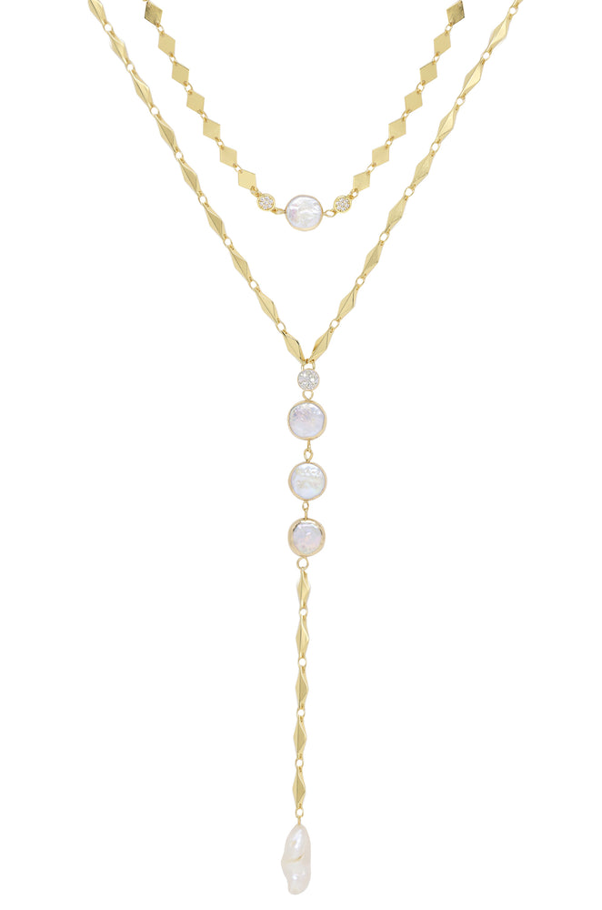 Summer Dreamin' Freshwater Pearl and 18k Gold Plated Necklace Set