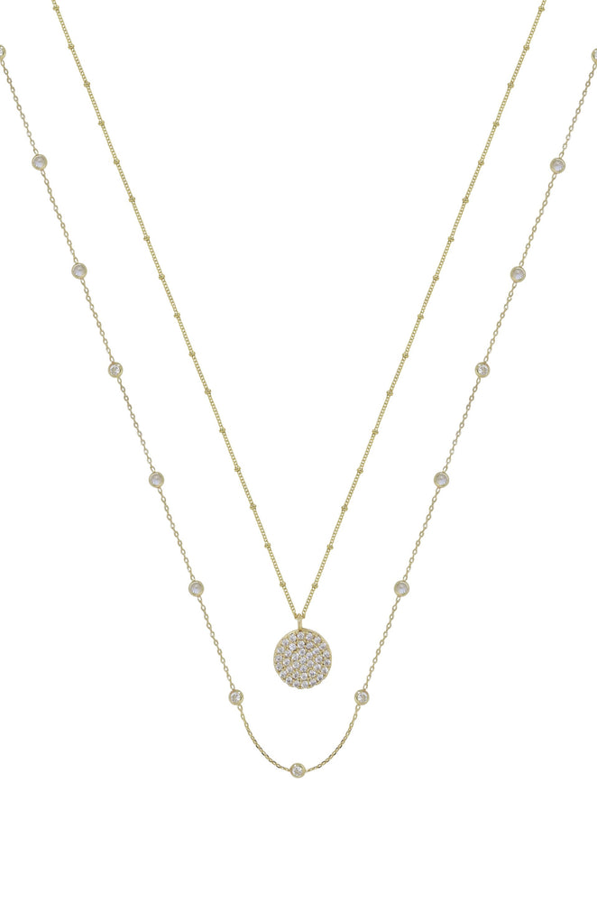 Crystal Disc 18k Gold Plated Layered Necklace Set
