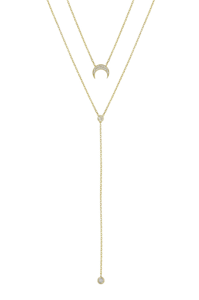 Dainty Layered Crescent Moon 18k Gold Plated Necklace Set