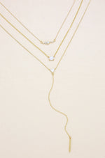 Layered Opal Lariat Necklace Set of 3