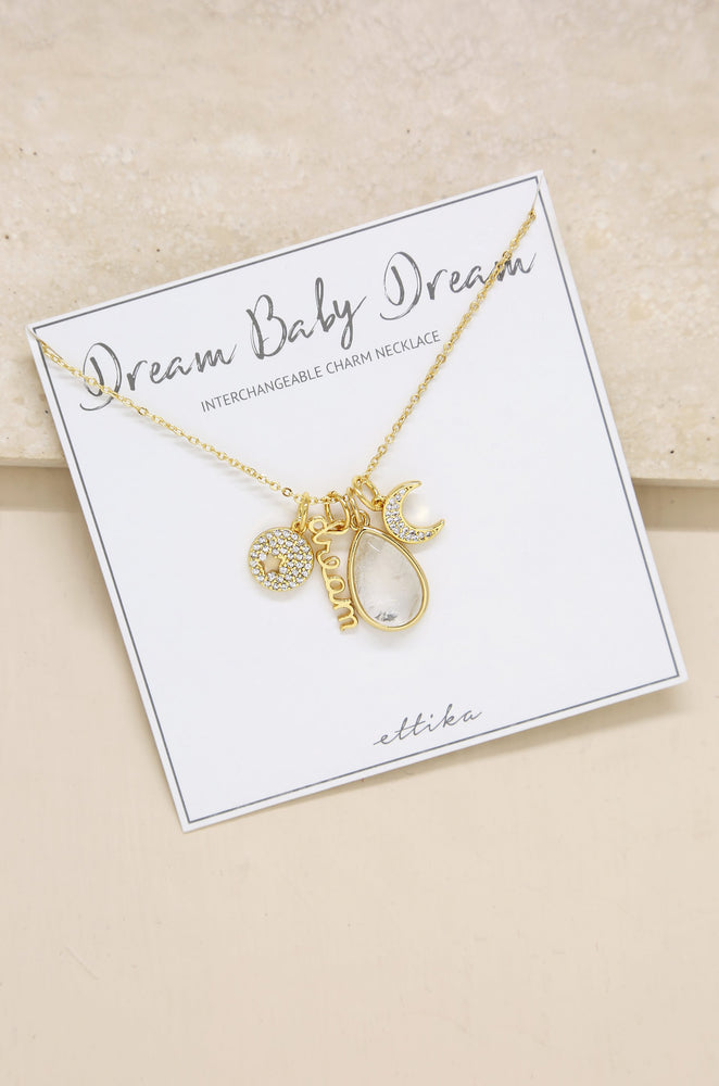 Dream Baby Dream 18k Gold Plated Interchangeable Charm Necklace on slate background
