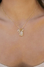 Dream Baby Dream 18k Gold Plated Interchangeable Charm Necklace shown on a model