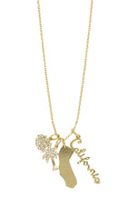 California Cool 18k Gold Plated Interchangeable Charm Necklace on white background