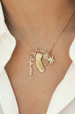 California Cool 18k Gold Plated Interchangeable Charm Necklace shown on a model