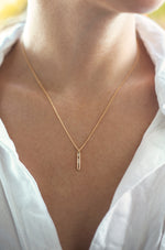 Crystal Bar 18k Gold Plated Drop Necklace
