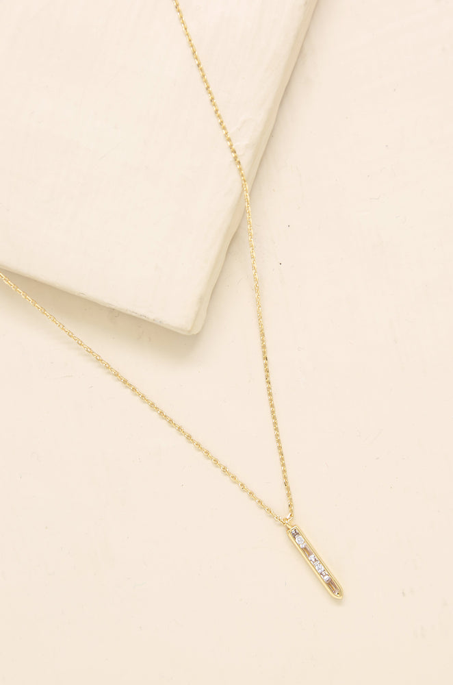 Crystal Bar Drop Necklace