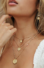 Three Coins Necklace Set in Gold
