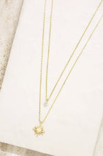 Layered Starburst and Crystal 18k Gold Plated Necklace